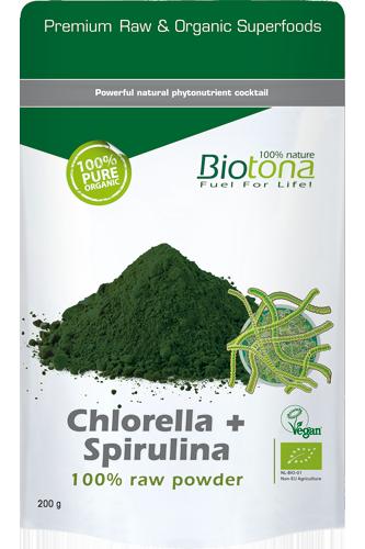 Biotona Chlorella + Spirulina 100% Raw Powder 200g