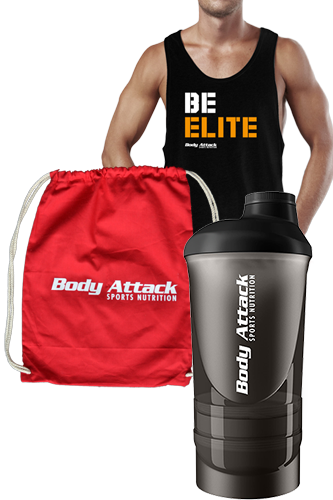Body Attack Sports Nutrition BE ELITE Stringer, Gym Bag und Shaker ShakeOne Paket