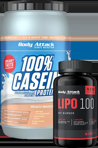 Body Attack Muskelaufbau-Kombi: Casein + Lipo 100