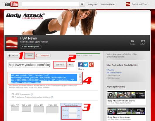 HSV Video-News für deine Homepage oder deine eigene Webseite.