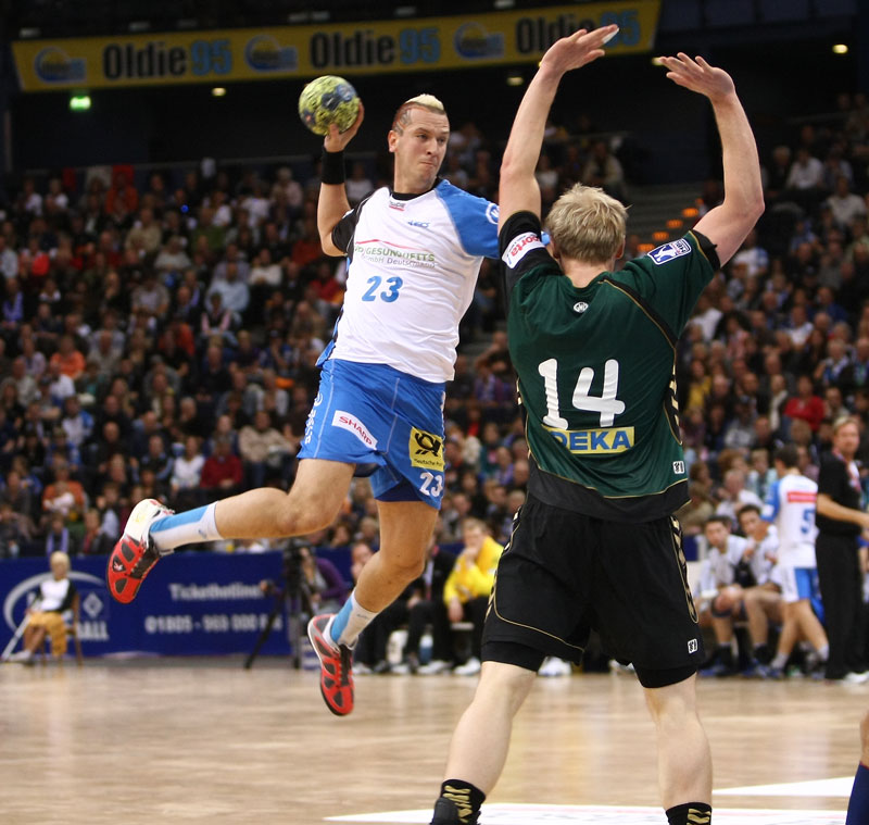 Spieler vom HSV Handball in Action