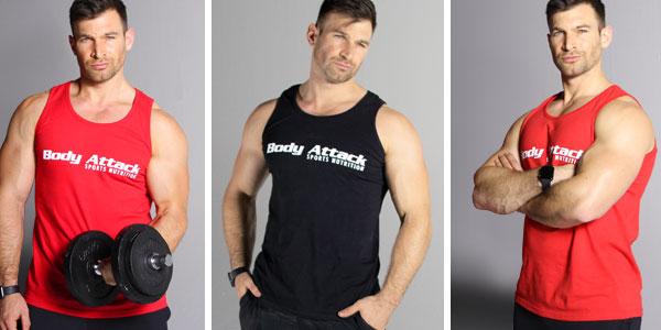 Moritz Tellmann trägt das Body Attack Sports Nutrition Tank Top