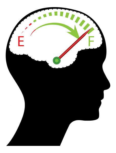 Gehirn mit Energieanzeiger (Quelle: Shutterstock/gabydesign)