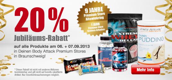 20 % Jubiläumsrabatt in den Body Attack Premium Stores Braunschweig
