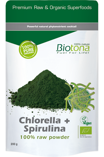 Biotona Chlorella + Spirulina 100% Raw Powder – 200g