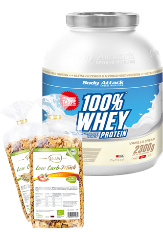 Body Attack 100% Whey Protein - 2,3kg plus Low Carb Müsli