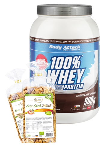Body Attack 100% Whey Protein - 900g plus Low Carb Müsli
