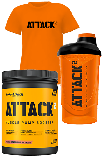 Body Attack ATTACK<sup>2</sup> - 600g + ATTACK<sup>2</sup> Shaker + ATTACK<sup>2</sup> T-Shirt