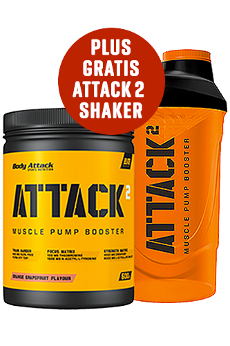 Body Attack ATTACK² - 600g + Shaker ATTACK² - 600ml gratis *AKTIONSPAKET*