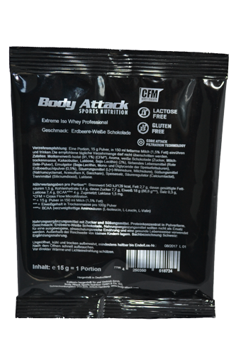 Body Attack Extreme ISO Whey - 15g Probe Restposten White Chocolate Strawberry