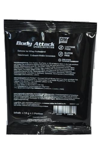 Body Attack Extreme ISO Whey - 15g Probe Restposten White Chocolate Strawberry