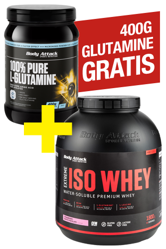 Body Attack Extreme Iso Whey 1,8kg + 100% Pure L-Glutamine 400g gratis *Aktionspaket*