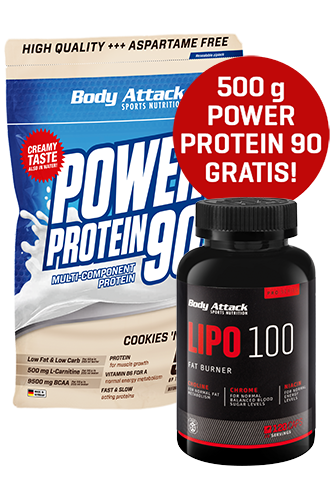 Body Attack LIPO 100 120 Caps + Power Protein 90 500g gratis *AKTIONSPAKET*