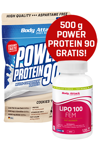 Body Attack LIPO FEM 120 Caps + Power Protein 90 500g gratis *AKTIONSPAKET*