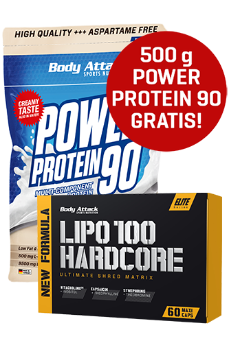 Body Attack LIPO 100 HARDCORE 60 Caps + Power Protein 90 500g gratis *Aktionspaket*