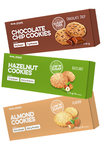 Body Attack Low Sugar Cookies - 115g 3er Gratis Pack