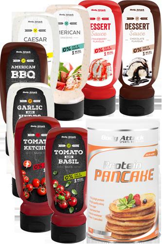 Body Attack Variety Pack Saucen 8er 320ml + Pancake Stevia 300g
