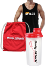 Body Attack Sports Nutrition ATTACK Stringer, Gym Bag und Protein Shaker Paket