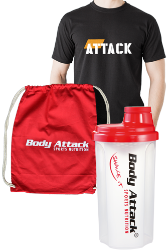 Body Attack Sports Nutrition ATTACK T-Shirt, Gym Bag und Protein Shaker Paket