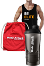 Body Attack Sports Nutrition BE ELITE Stringer, Gym Bag und Protein Shaker Paket