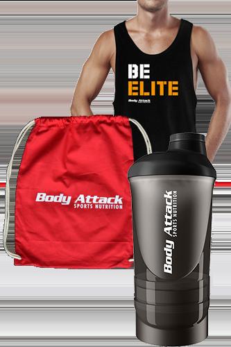 Body Attack Sports Nutrition BE ELITE Stringer, Gym Bag und Shaker ShakeOne Paket