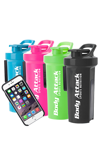 Body Attack Sports Nutrition GA Shaker+ mit Handyhülle