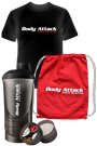 Body Attack Sports Nutrition T-Shirt black + Shaker + Gym Bag *PROMOTIONPAKET*