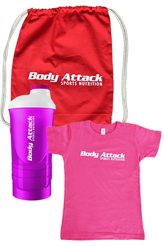 Body Attack T-Shirt pink + Shaker + Gym Bag Paket - Women