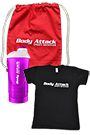 Body Attack T-Shirt schwarz + Shaker + Gym Bag Paket Women