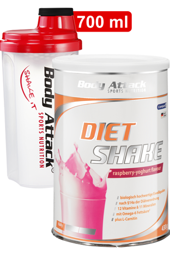 Body Attack Diät Shake + Shaker transparent rot