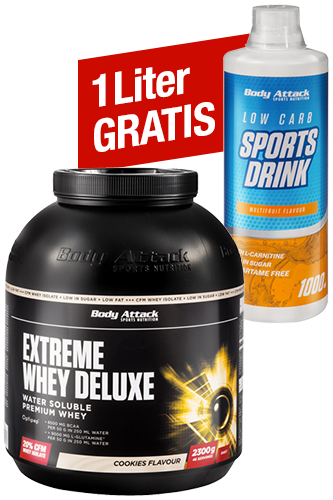 Extreme Whey Deluxe - 2,3kg + gratis Low Carb Sports Drink - 1000 ml