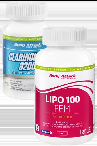 Body Attack LIPO 100 FEM -120 Caps + Gratis Clarinol CLA - 90 Caps