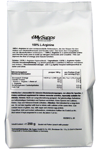 My Supps 100% L-Arginine  250g