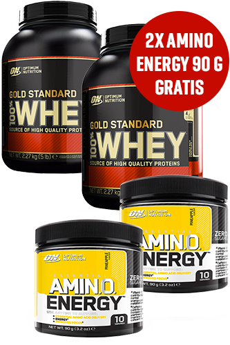 Optimum Nutrition 100% Whey Protein 2270g 2er Pack + Amino Energy 90g 2er Pack gratis
