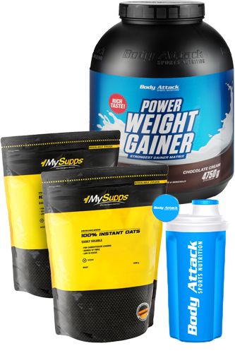Body Attack Power Weight Gainer 4,75kg + Gratis Shaker + 2 x 1kg Gratis 100% Instant Oats Aktion