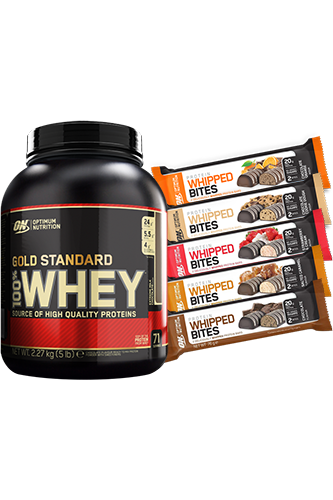 Optimum Nutrition 100% Whey Gold Standard - 2270g + 76g Whipped Bites 12er Paket