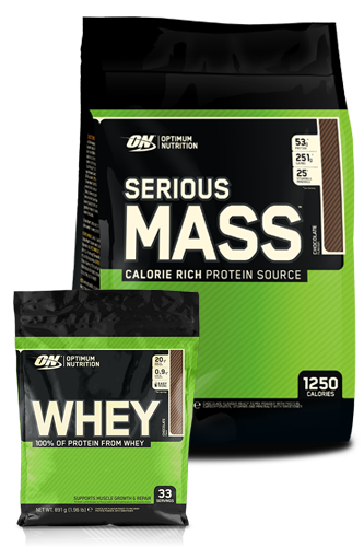 Optimum Nutrition Serious Mass - 5,45 kg + Whey 891g
