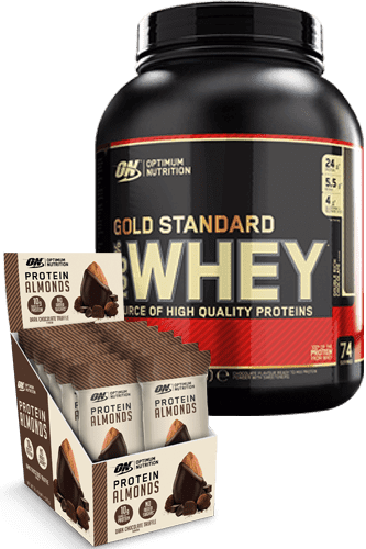 Optimum Nutrition 100% Whey Protein 2270g + 12 Protein Almonds 43g Paket