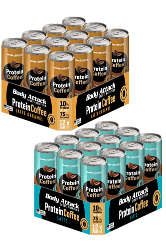 Body Attack Protein Coffee Cafe Latte Tray - 12er Pack