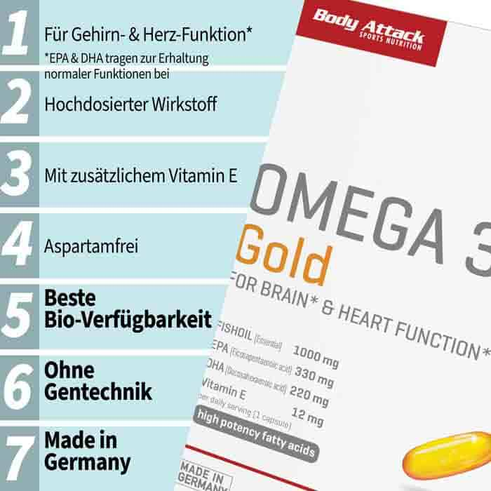 Body Attack Omega 3 Gold Produkthighlights