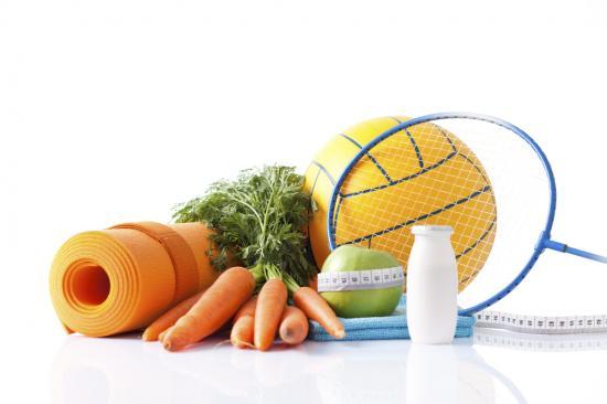 Diätkost und Fitnessgeräte
